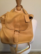 Vintage COACH Tan Brown Leather Small Backpack Style Purse NICE (hkelly) - $56.09