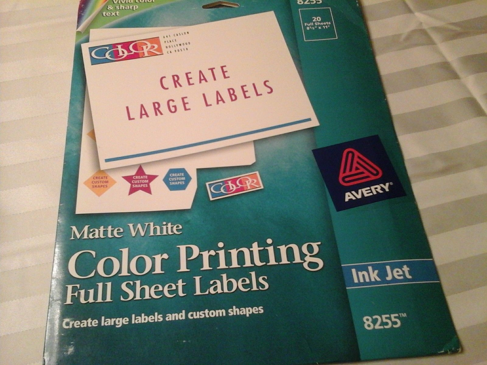 Avery 8255 Color Print Inkjet Labels, Full and 50 similar items