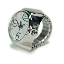 WATCH RING Finger Stretch Band Chrome Time Jewelry NEW Large Number Whil... - $9.25
