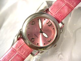 "L04, Pink Face with Butterfly Wing Hands, Silver Tone, 8.5"" New Pink Band w/b - $16.87"