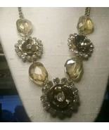 "Vintage Jewelry: 18"" End To End Brassy Rhinestone Flower Necklace 01-03-... - $17.81"