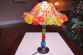 "Vintage Multi Color Ribbon Lamp 15"" Tall - $49.00"