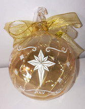 2001 Princess House Crystal Glass Christmas Ornament White Star Gold Tri... - $17.65
