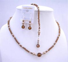 Back Drop Necklace Jewelry Swarovski Crystals Pearl Back Dro - $50.87