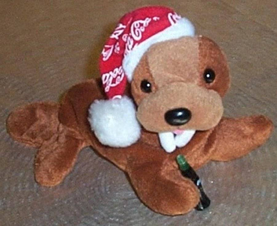 Coke Brown Sweet Face Plush '98 Walrus in Red Coca Cola Cap with Soda Bottle - $6.49