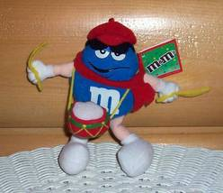 M & M's Blue Candy Mini Plush Drummer Boy in Red Cap & Scarf with Holida... - $5.95