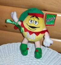 M & M's Yellow Candy Poseable Plush in Green & Red Holiday Cap & Green E... - $7.49