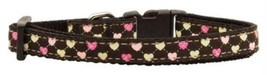 Mirage Pet Products Argyle Hearts Nylon Ribbon Collar for Pets, Small, Brown - $15.08