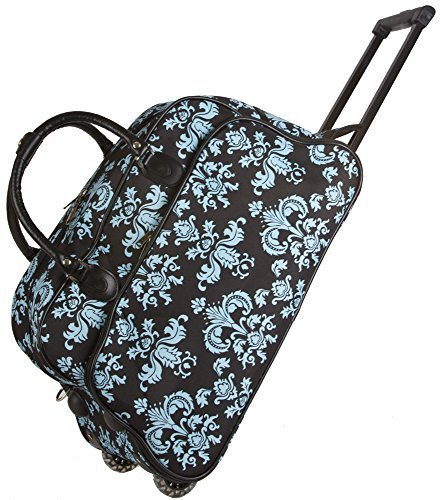 World Traveler 21 Inch Rolling Duffel Bag, Black Blue Damask, One Size