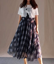 High Waisted BLACK PLAID Skirt Long Tulle Black Plaid Skirt Outfit Plus Size image 4