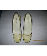 PRADA WOMEN'S BEIGE Patent Leather Dress High Heel Pumps w/ Black Trim, ... - $55.00