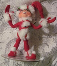 Annalee Red Peppermint Twist Elf Felt Doll Christmas Ornament  - $11.99