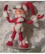 Annalee Red Peppermint Twist Elf Felt Doll Christmas Ornament  - $14.99
