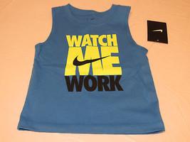 Boys Baby Nike 12M tank top shirt NWT 66a030 419 Photo Blue Watch Me Work  - $21.77