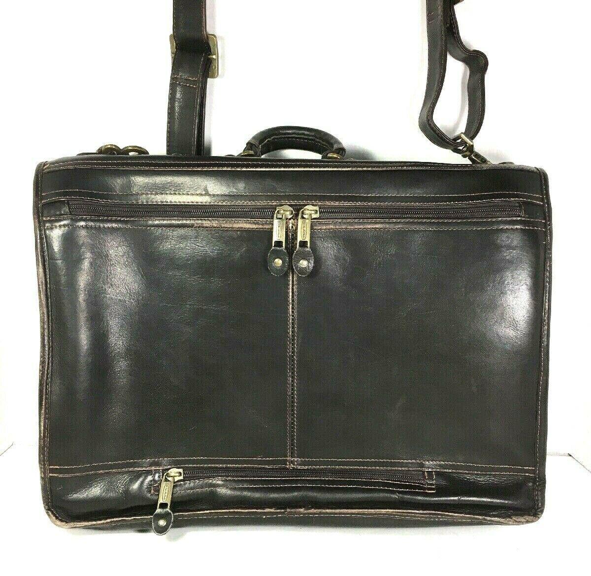 Santa Fe Dilana Vintage Dark Brown Leather Briefcase Laptop Bag – Distressed