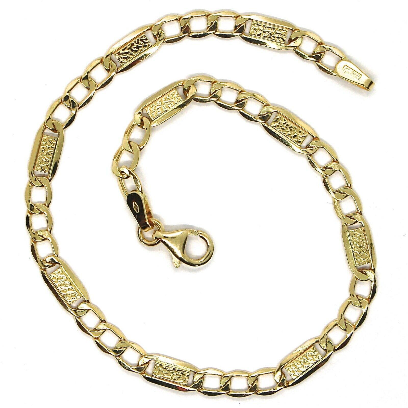 Bracelet or Jaune 18K 750, Gourmette et Plaques, Lavoration Bulles, 4 MM