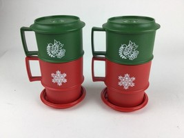 4 Vintage Tupperware Forest Green Dove Red Snowflake Christmas Holiday C... - $18.68
