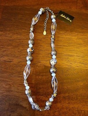 """Cookie Lee Faceted Glass Necklace """"New With Tags""""Jewelry-Fashion-Vintage-Antique"""