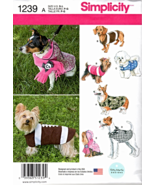 Simplicity 1239 Dog Coats Pattern - All Sizes - $12.99