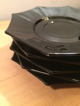 Vintage 60s Black Glass Octagon small plates/saucers- set of 5 image 6