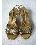 PRADA Gold & Silver Metallic Leather Braided Sandals with Straw Wedge - ... - $119.99