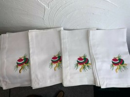 New White Napkins w/ Green Red Embroidered Ornaments Holiday LNT Home Se... - $18.69