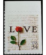 2001 34c Rose & Love Letter, SA Scott 3498 Mint F/VF NH - $2.89
