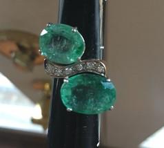 Huge 12.6 ct Zambian Emerald .25ct diamond 18k yellow gold engagement ring 6.5 - $3,499.99