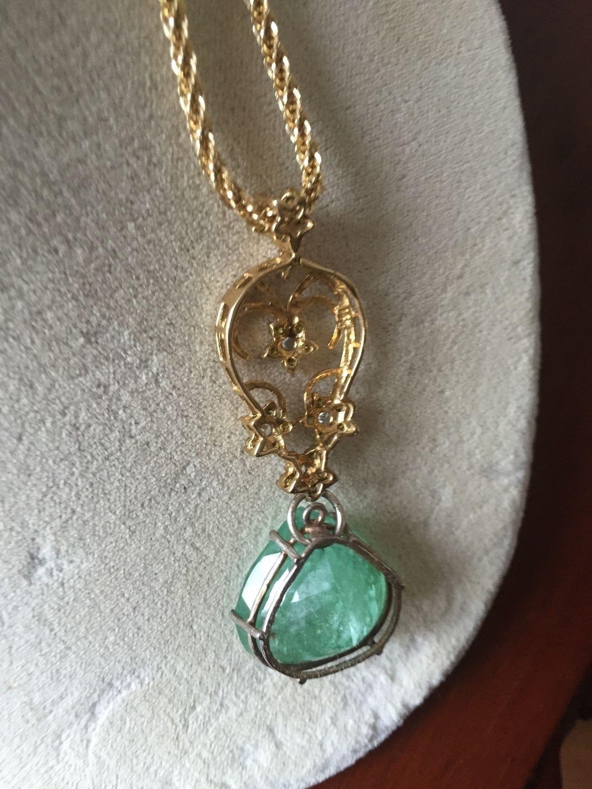 Huge Estate Natural 33.4 carat Canary Yellow Diamonds & Emerald pendant necklace