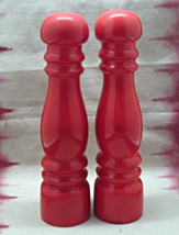 Vintage Tall Red Ceramic Salt & Pepper Shakers ... - $13.50
