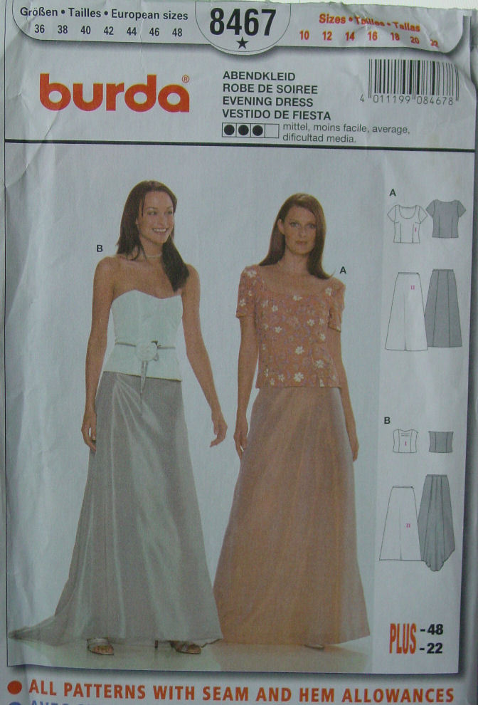 Pattern 8467 Formal Dress Seperates -Tops , Skirt sz 10-22