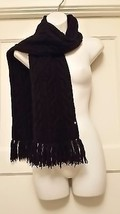 """BLACK SCARF Knitted, GAP cable knit pattern 62""""long 5""""wide and gorgeous ... - $13.99"""
