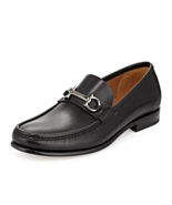 SALVATORE FERRAGAMO Logo Raffaele Black Leather Gancini Bit Loafer Shoes... - ₨36,803.41 INR