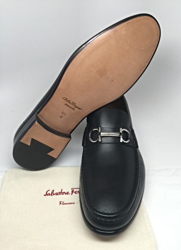 SALVATORE FERRAGAMO Logo Raffaele Black Leather Gancini Bit Loafer Shoes NEW BOX
