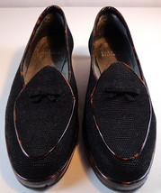Stuart Weitzman Black Loafer Tortoise Trim Slip On Shoes Womens 8.5 N - $79.95