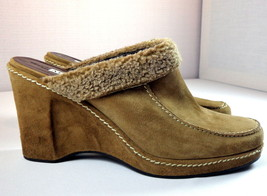 Alfani Suede Wedge Clogs Womens 9.5 M Tan Astra Slip On Shoes - $39.95