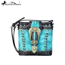 Montana West Silver Studs,Floral Tooled Gold Buckle Collection Crossbody Handbag - $54.99