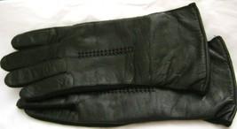 Vintage Black leather wrist gloves size 7 acrylic lined  - $24.74