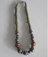 Handmade Necklace Graduated Beads Art glass detail Original Silver Pewter - $15.99