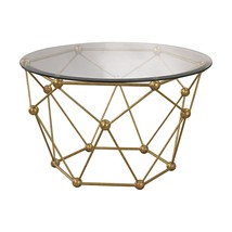 Worlds Away Horchow Look Molecule Hollywood Gold Regency Round Coffee Table - €269,02 EUR