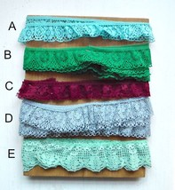 All 5 Assorted pcs Colors Lace Trim Green Burgandy Red Teal Light Blue - $1.97