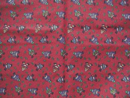Fabric Christmas Snowman on Red Background  1 yard - $5.93