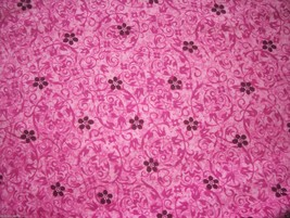 Pink Burgandy Flowers on Pink background Flannel Fabric  1/2 yard - $3.95