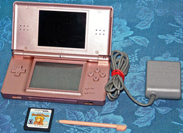 Nintendo DS Lite Coral Pink Handheld System COMPLETE + CHARGER & PRINCES... - $46.74