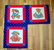 3 Boyd Bears Clown Party Dress Up Red Blue Panels  Great for making pillows - $7.43