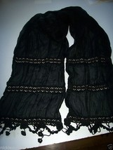 Ladies Womans Sheer Black Scarf Dress up Scarf Embroidered Flower & Bead Fringe - $1.24