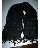 Ladies Womans Sheer Black Scarf Dress up Scarf Embroidered Flower & Bead... - $1.24