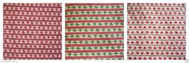 Xmass Rows of Ribbon Bows n Stripes Red Green Brownish Gold sold by 1/2 ... - $3.50