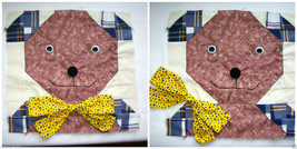 """Quilters Square Handmade Bear with Bowtie Movable Eyes Button Nose 12"""" x... - $12.38"""