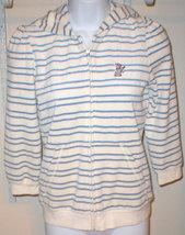 Nwt $148 Juicy Couture Blue Stripe Hoodie White Medium Terry Dog Jacket  - $134.99